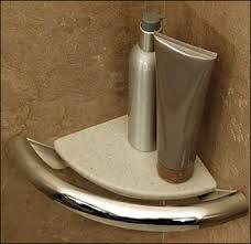Corner Integrated Support Rail Bathroom Shelf