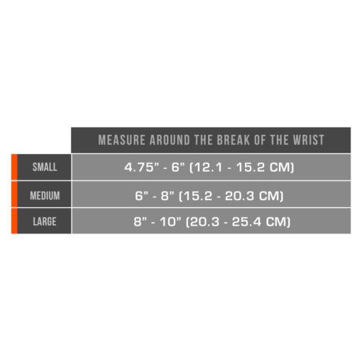 Living Well C-303 Neoprene Wrist-Thumb Support Measurement Chart