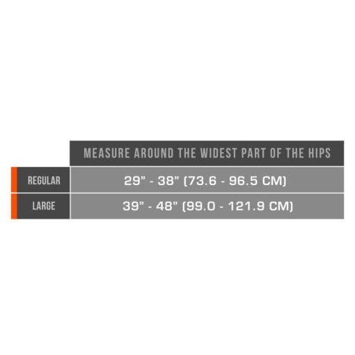 Living Well C-407 Lightweight Adjustable Sacro Brace Measurement Chart